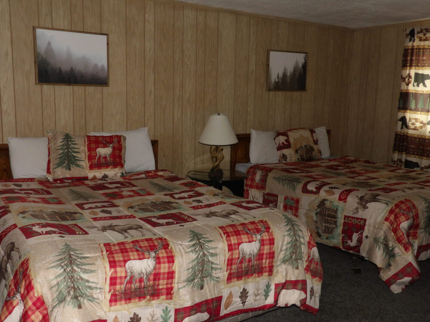beds with forest-themed furnishings