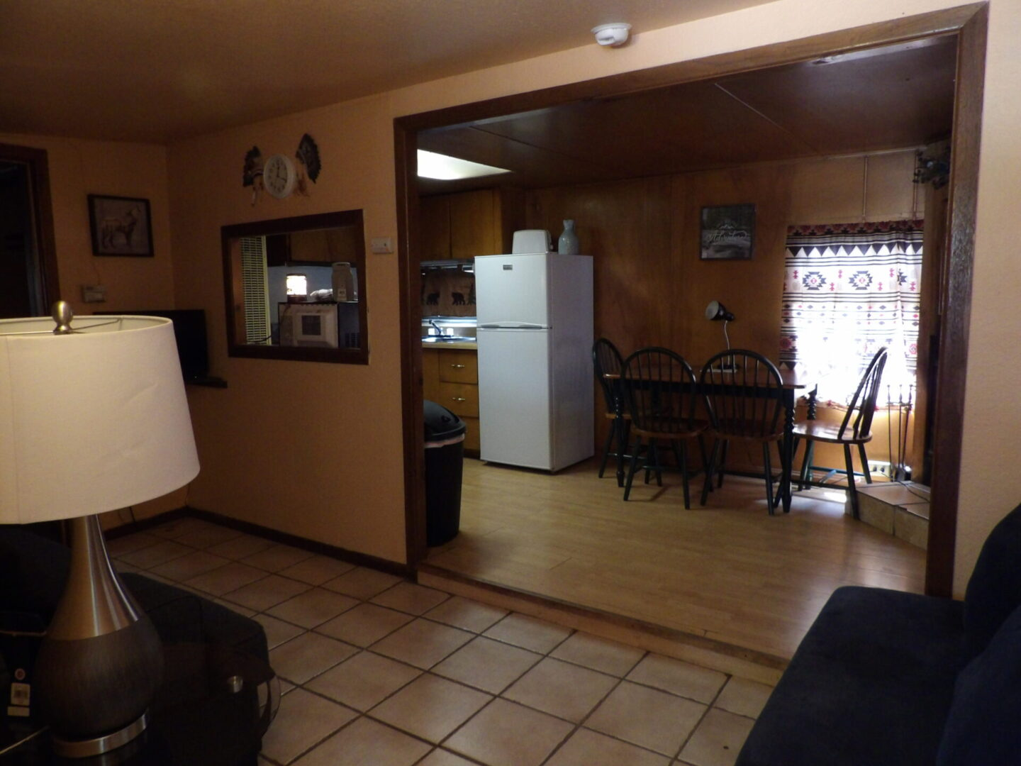 living room overlooking the kitchen and dining
