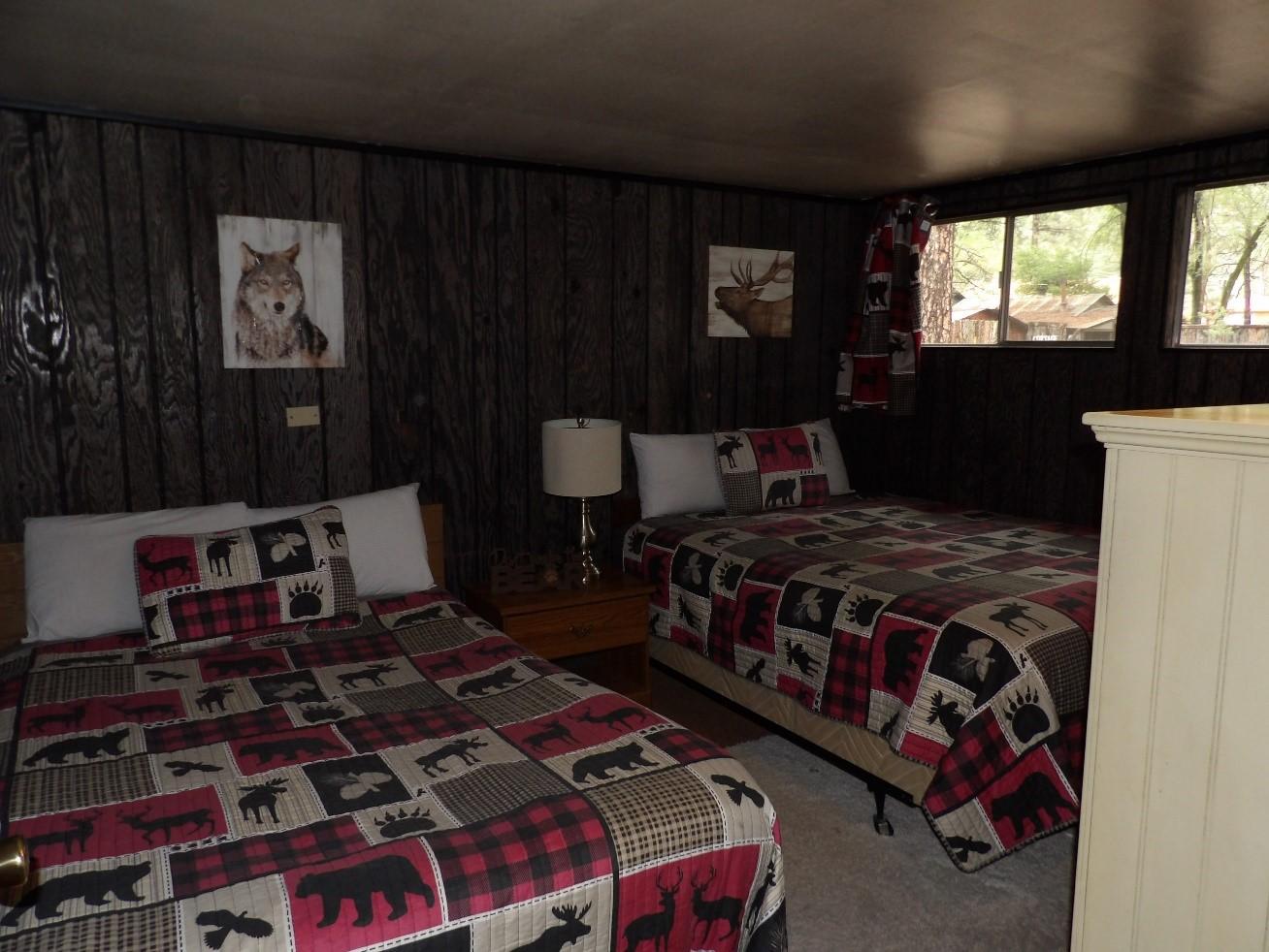 room with dark woodland design
