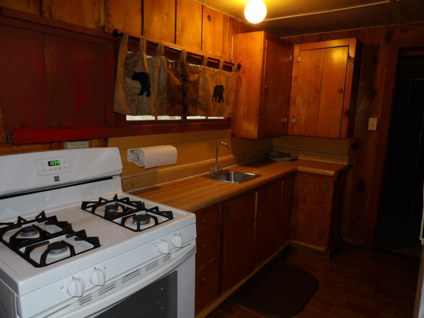 kitchen sink and range with wooden themes